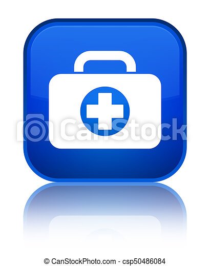 First aid kit bag icon special blue square button - csp50486084