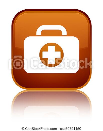 First aid kit bag icon special brown square button - csp50791150