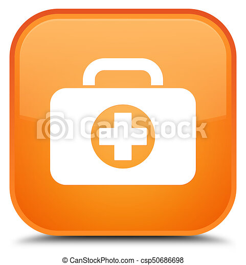 First aid kit bag icon special orange square button - csp50686698