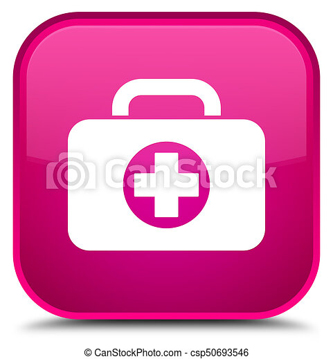 First aid kit bag icon special pink square button - csp50693546