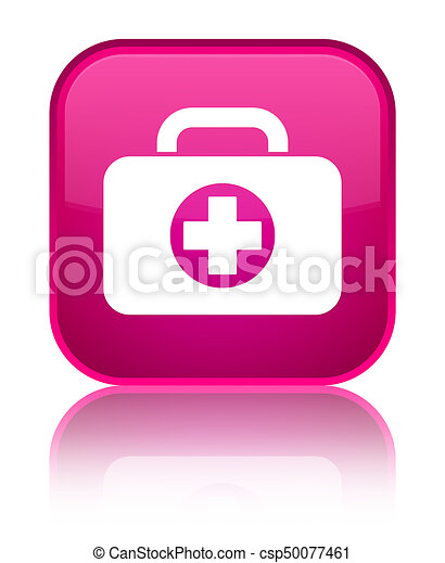 First aid kit bag icon special pink square button - csp50077461