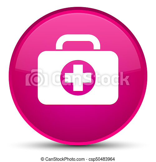 First aid kit bag icon special pink round button - csp50483964