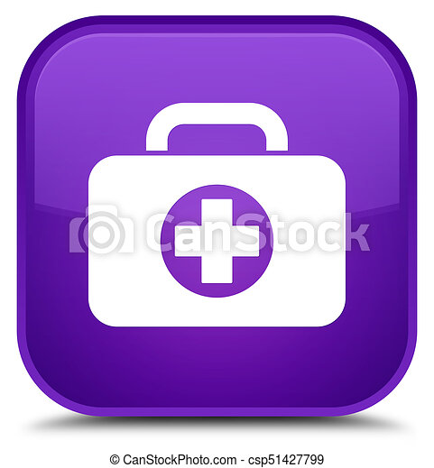 First aid kit bag icon special purple square button - csp51427799
