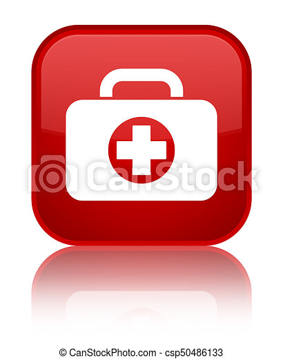 First aid kit bag icon special red square button - csp50486133