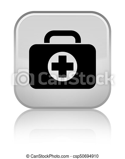 First aid kit bag icon special white square button - csp50694910