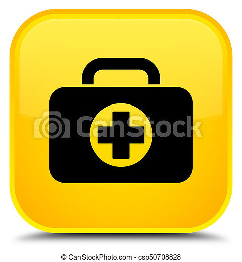 First aid kit bag icon special yellow square button - csp50708828