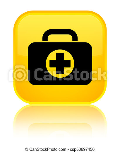First aid kit bag icon special yellow square button - csp50697456