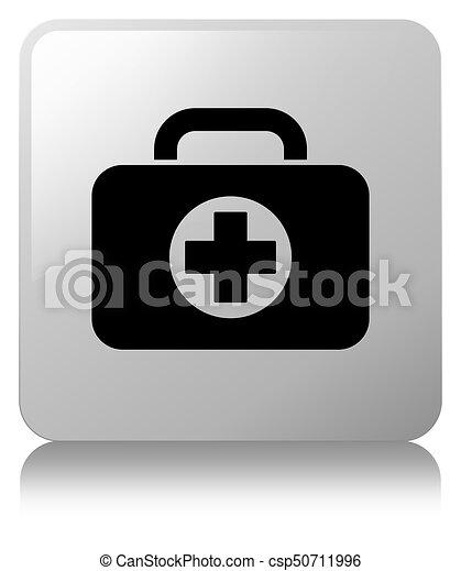 First aid kit bag icon white square button - csp50711996