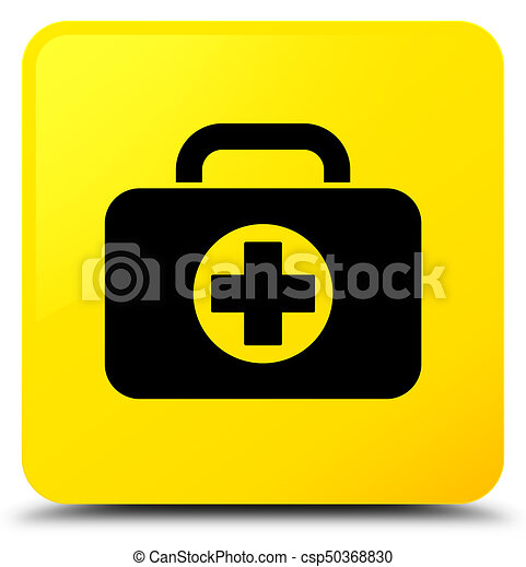 First aid kit bag icon yellow square button - csp50368830