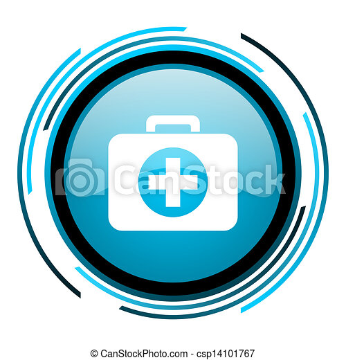 first aid kit blue circle glossy icon - csp14101767