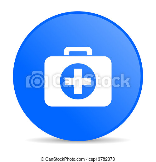 first aid kit blue circle web glossy icon - csp13782373