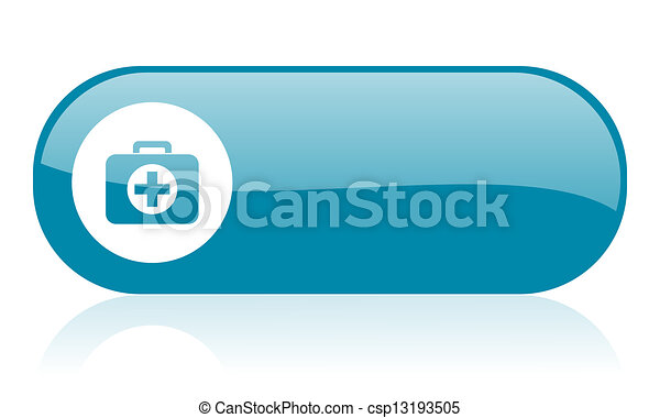 first aid kit blue web glossy icon - csp13193505
