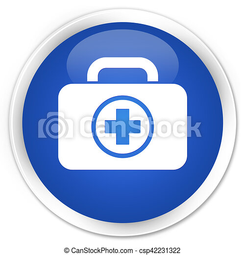 First aid kit icon blue glossy round button - csp42231322