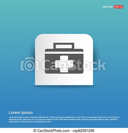 First aid kit icon - Blue Sticker button - csp62081298