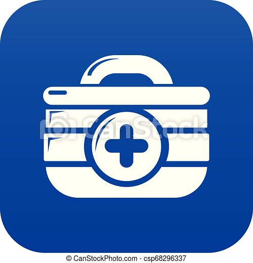 First aid kit icon blue vector - csp68296337