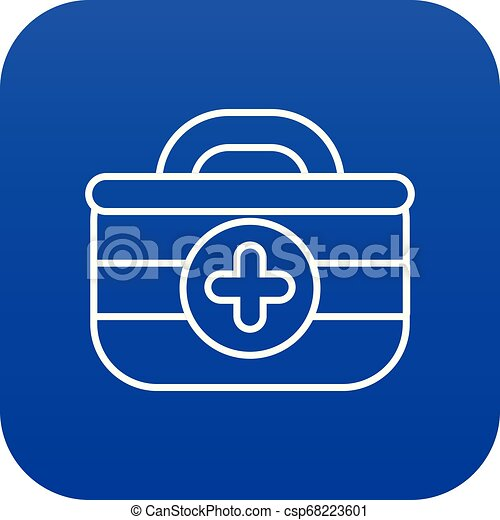 First aid kit icon blue vector - csp68223601