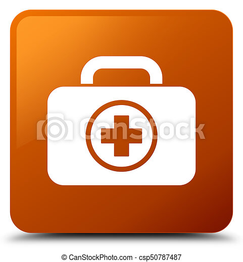 First aid kit icon brown square button - csp50787487