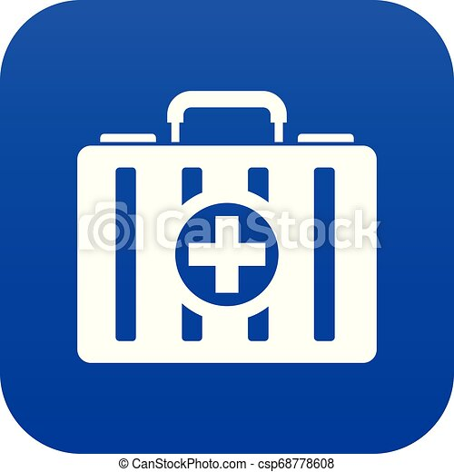 First aid kit icon digital blue - csp68778608