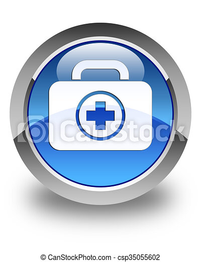 First aid kit icon glossy blue round button - csp35055602