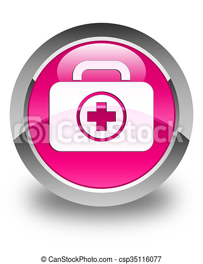 First aid kit icon glossy pink round button - csp35116077