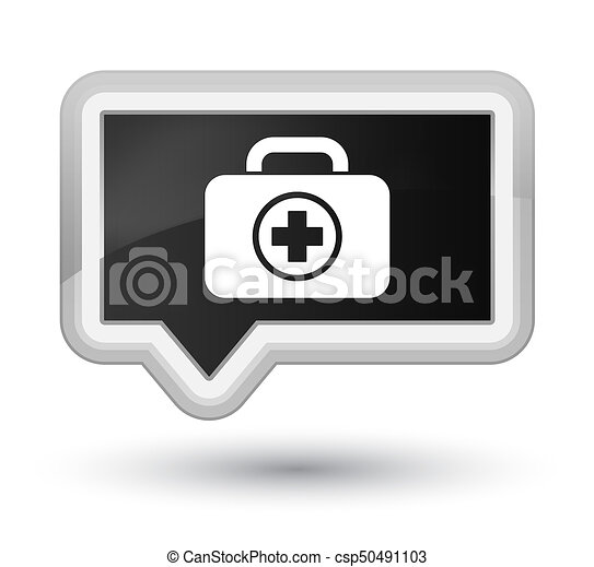 First aid kit icon prime black banner button - csp50491103