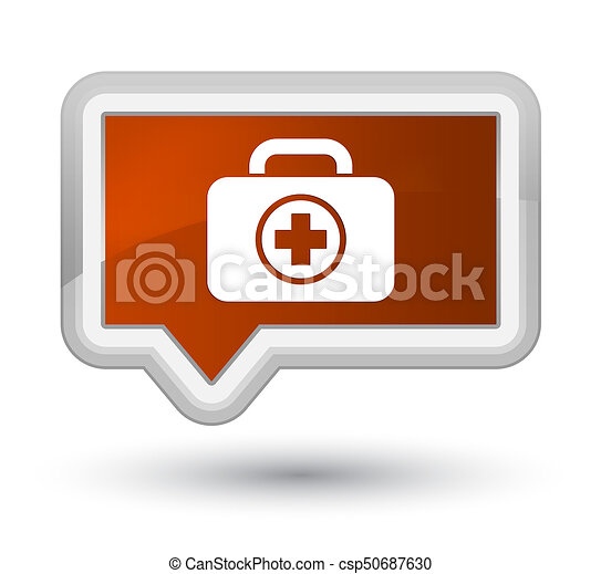 First aid kit icon prime brown banner button - csp50687630