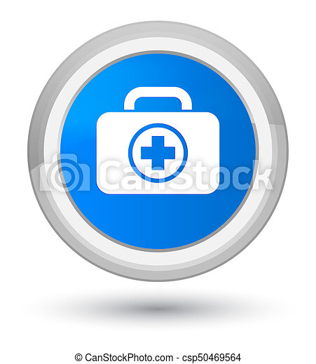 First aid kit icon prime cyan blue round button - csp50469564