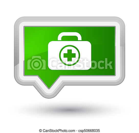 First aid kit icon prime green banner button - csp50668035