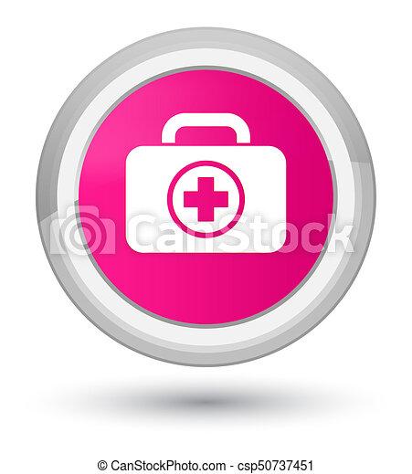 First aid kit icon prime pink round button - csp50737451