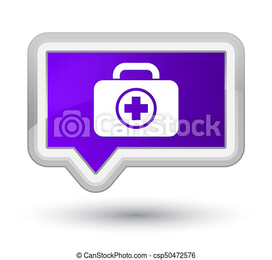 First aid kit icon prime purple banner button - csp50472576