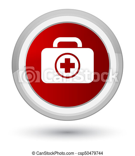 First aid kit icon prime red round button - csp50479744