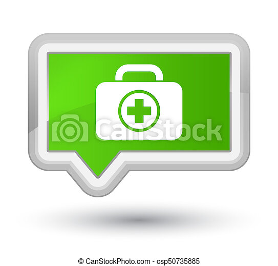 First aid kit icon prime soft green banner button - csp50735885