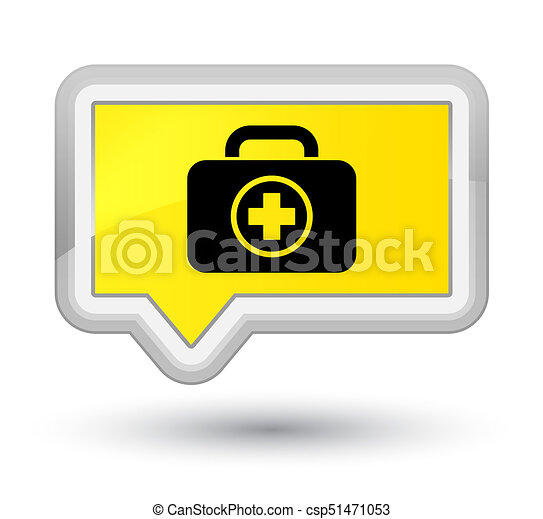 First aid kit icon prime yellow banner button - csp51471053