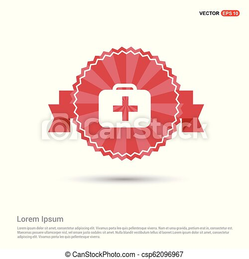 First aid kit icon - Red Ribbon banner - csp62096967