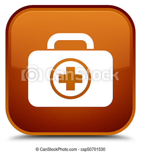 First aid kit icon special brown square button - csp50701530