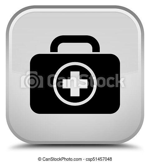 First aid kit icon special white square button - csp51457048