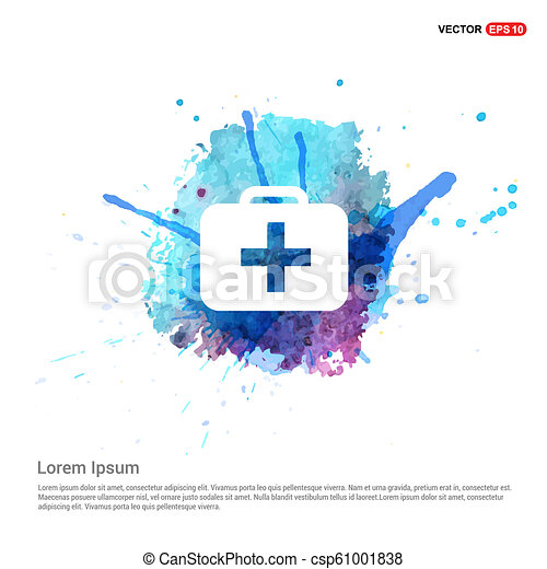 First aid kit icon - Watercolor Background - csp61001838