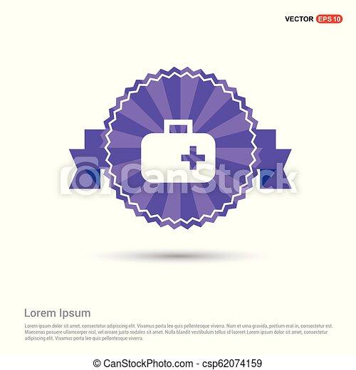 First aid medical kit icon - Purple Ribbon banner - csp62074159