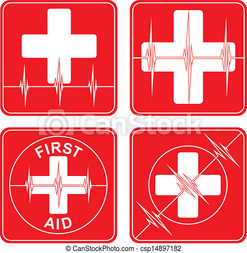 First Aid Medical Symbols Illustration Of Four Simple First