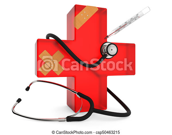 First Aid Symbol Red Cross With Stethoscope Plaster And