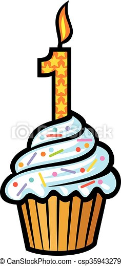 first birthday cake with candle - csp35943279