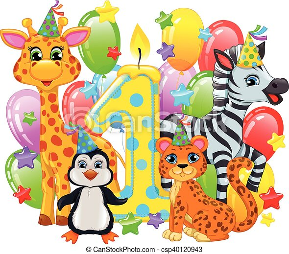 First birthday composition cute animals - csp40120943