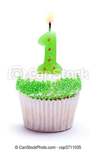 First birthday cupcake - csp3711035