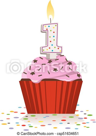 First Birthday Cupcake With Lit Candle In Shape Of Number One