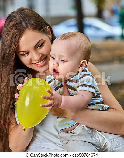 First Birthday Ideas Happy Mother And Her Baby Boy Outdoors First