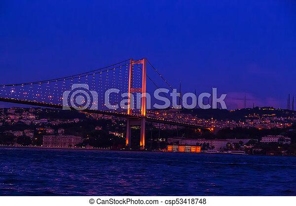 First Bosporus Bridge connecting Europe and Asia, Outdoor Istanbul city. Turkey landmark - csp53418748