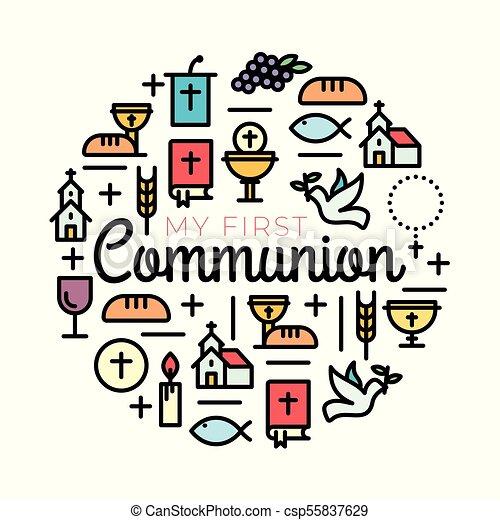 First Communion Symbols For A Nice Invitation Design Church