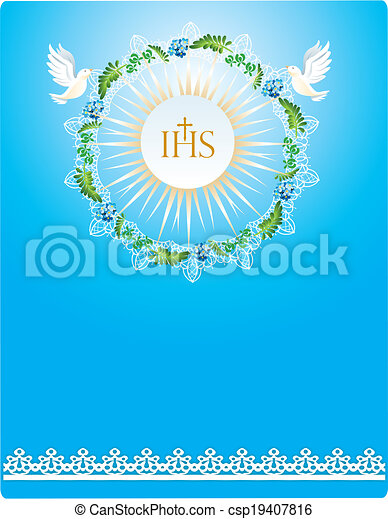 First Communion Background With Characteristic Symbols Of Holy