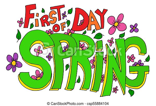 an image of a first day of spring lettering with flowers and rh canstockphoto co uk happy first day of spring clipart first day of spring 2017 clipart