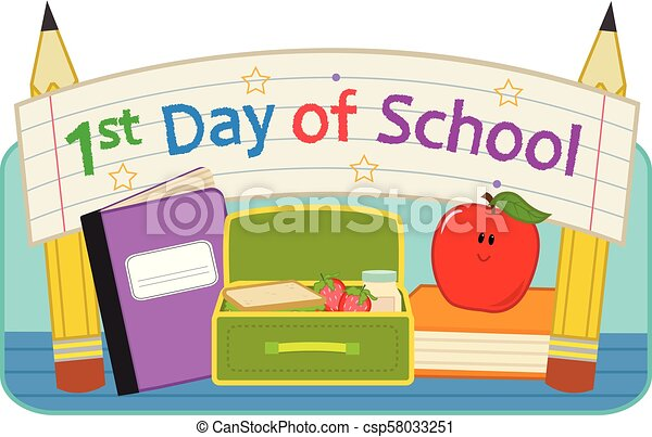 first day school back to school clip art with lunchbox notebook rh canstockphoto com first day of school free clip art my first day of school clipart